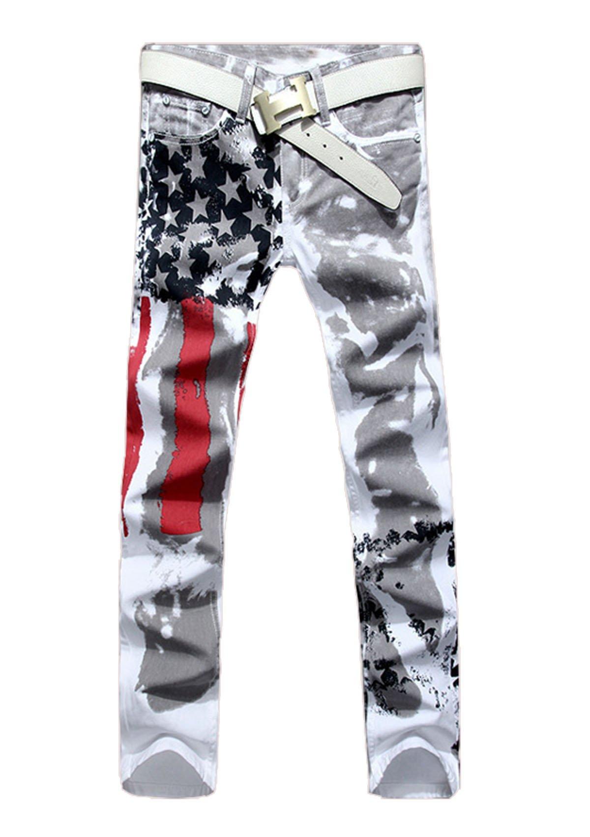JUNG KOOK Mens USA Flag Printed Denim Slim Fit Pants Casual Hip-hop Jeans 34 White