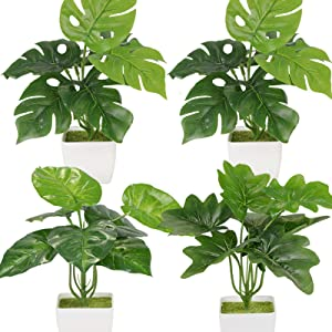 Greentime 4 Pack Faux Plants Indoor,Fake Plants in Pots,Greenery Artifical Plants for Shelf Desktop,Bedroom Farmhouse Bathroom Home Decorations(Palm Monstera Leaf+Peacock Leaves)