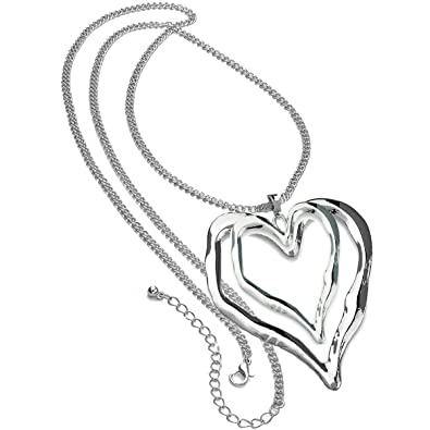 Ladies shiny silver colour 90 cm long curb chain extra large double heart pendant lagenlook necklace uQqZE3