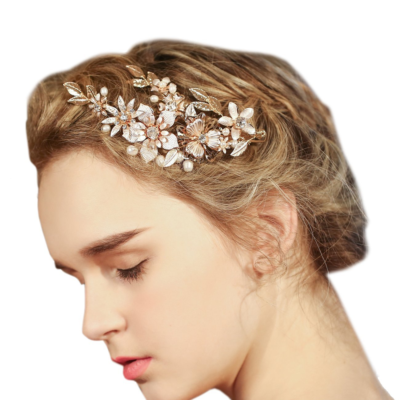 Amazon faybox vintage gold twig hair clips bridal headpiece faybox wedding bridal golden floral hair clips with bling rhinestone prom accessories decoration d junglespirit Image collections