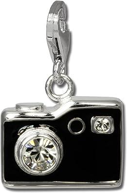 SilberDream Charm Silber Emaille Anhänger schwarz Fotoapparat Zirkonia FC819S