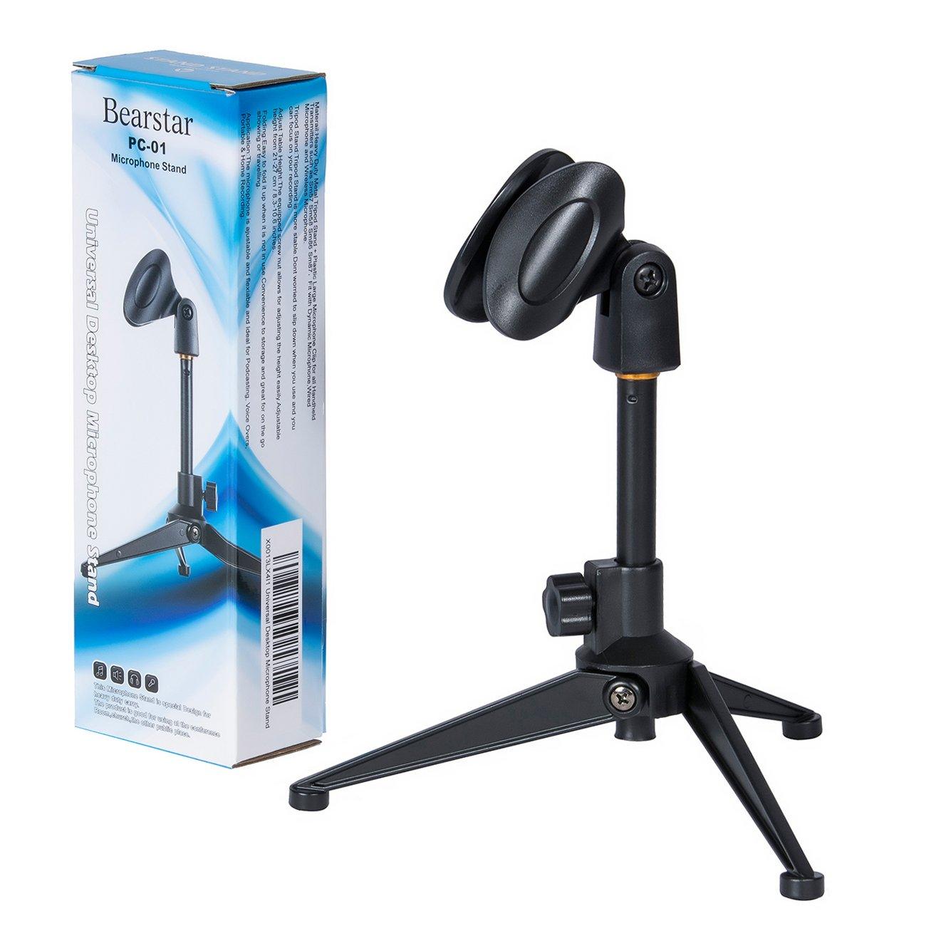 amazon com bearstar universal desktop microphone stand adjustable rh amazon com microphone desk stand with switch microphone desktop stand