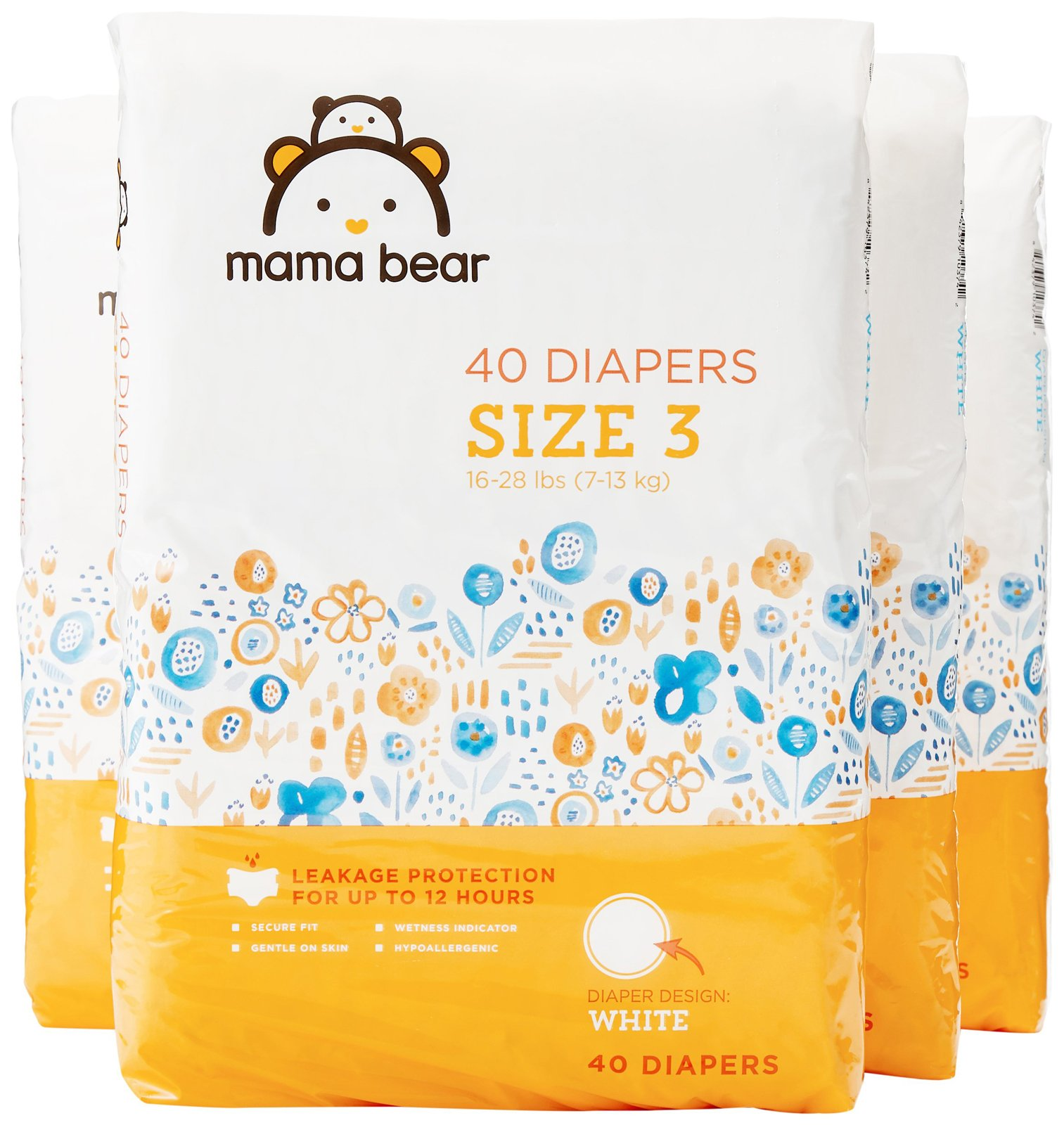 Amazon Brand - Mama Bear Diapers Size 3, 160 Count, White Print (4 packs of 40)