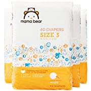 Amazon Brand - Mama Bear Diapers Size 3, 160 Count, White Print (4 packs of 40) [Packaging May Vary]