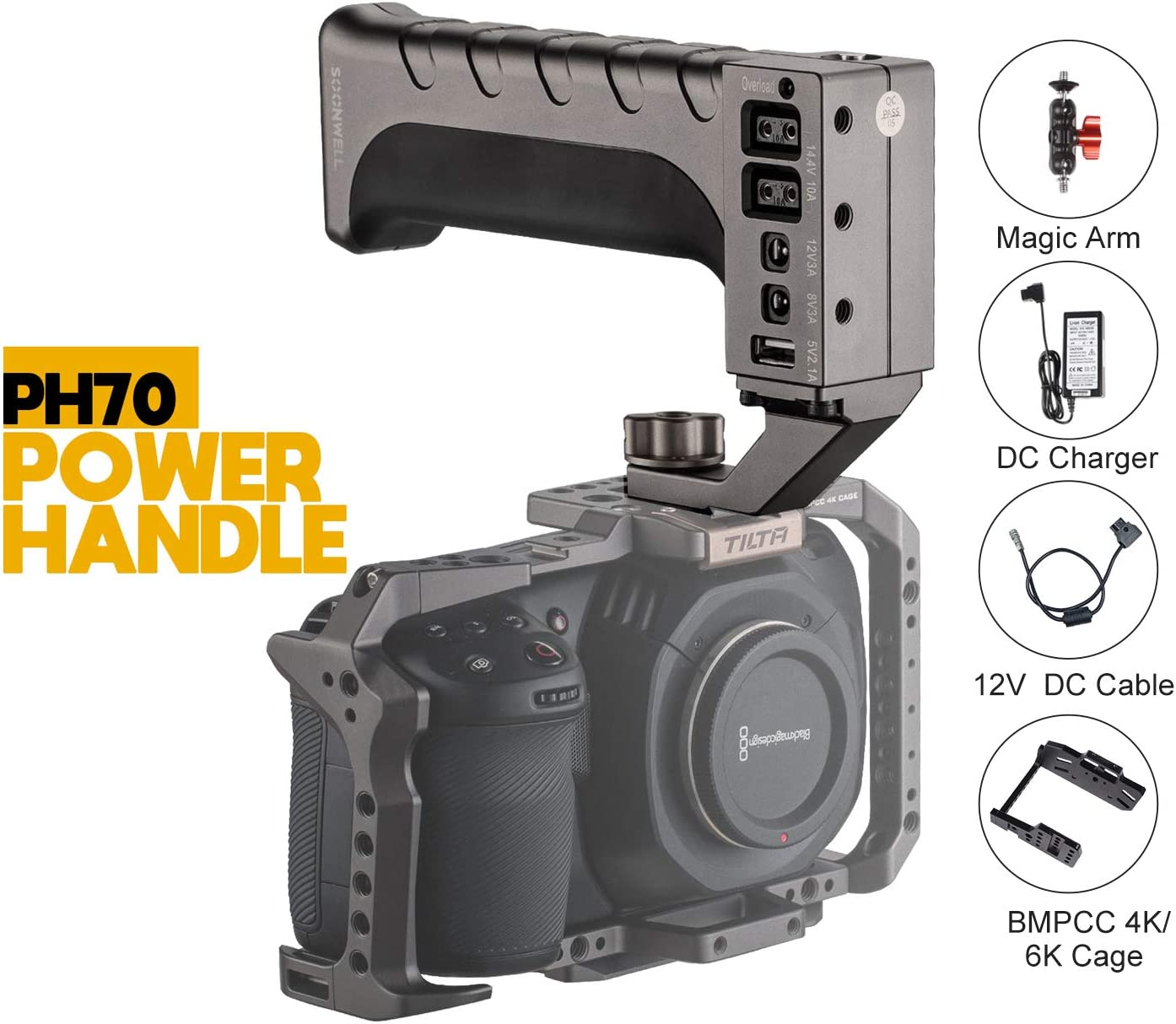 Amazon Com Soonwell Ph70 70wh Battery Handle Bundle Kit With Camera Cage D Tap Power Cable D Tap Charger Mini Magic Arm Compatible With Blackmagic Pocket Cinema Camera 4k 6k Camera Photo