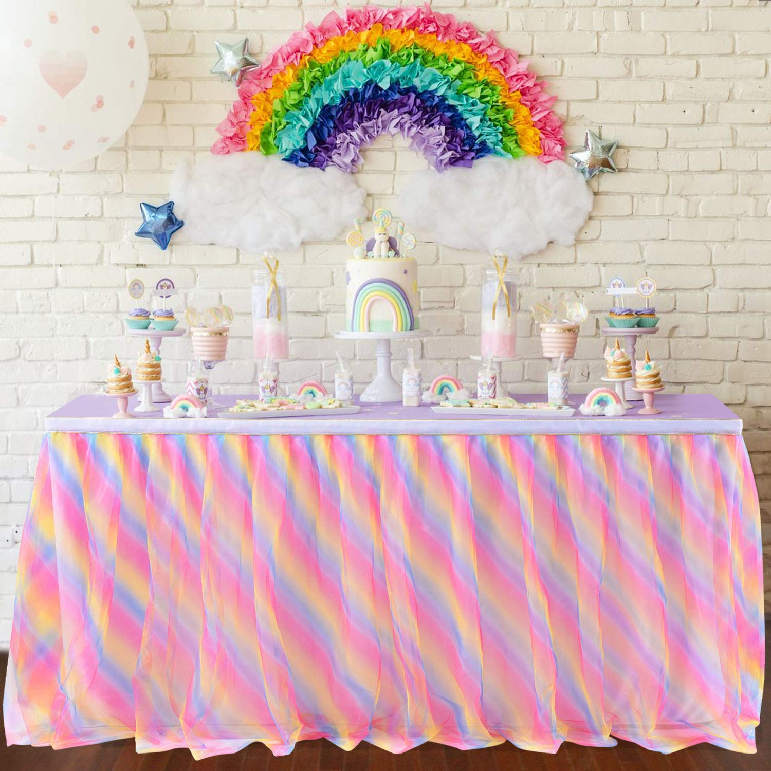 Rainbow Tulle Table Skirt Tutu Tablecloth 14ft Ruffle Table Skirting for rectangle tables Unicorn Birthday Party Baby Shower Unicorn Party Supplies by Tao-Ge