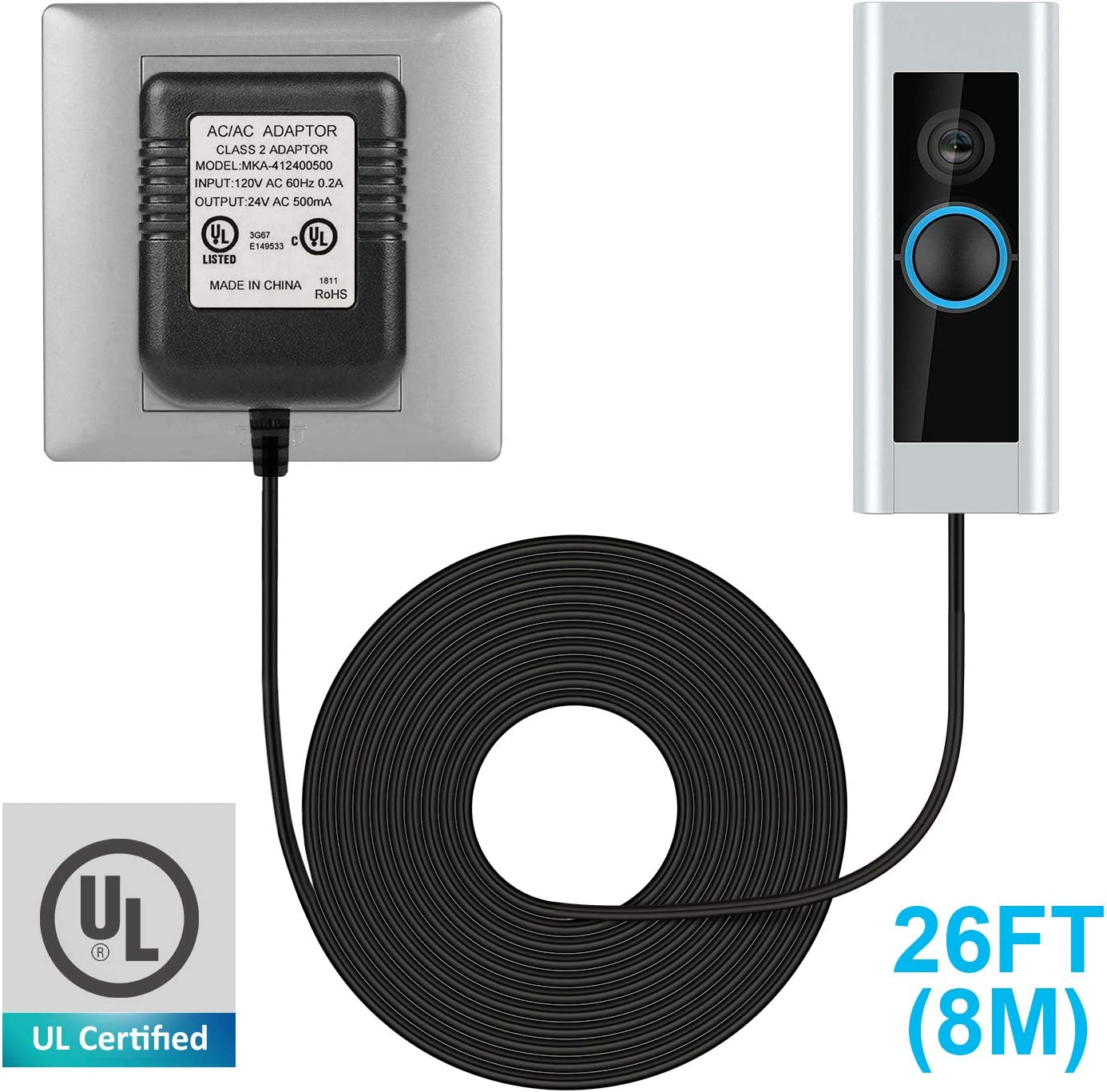 24V 500MA Transformer AC Power Supply Compatible with All Versions of Ring and