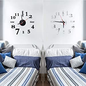 Outus 2 Pieces 3D Frameless Wall Clock Stickers Decoration DIY Wall Clock Sticker for Living Room Bedroom (Black and Silver)