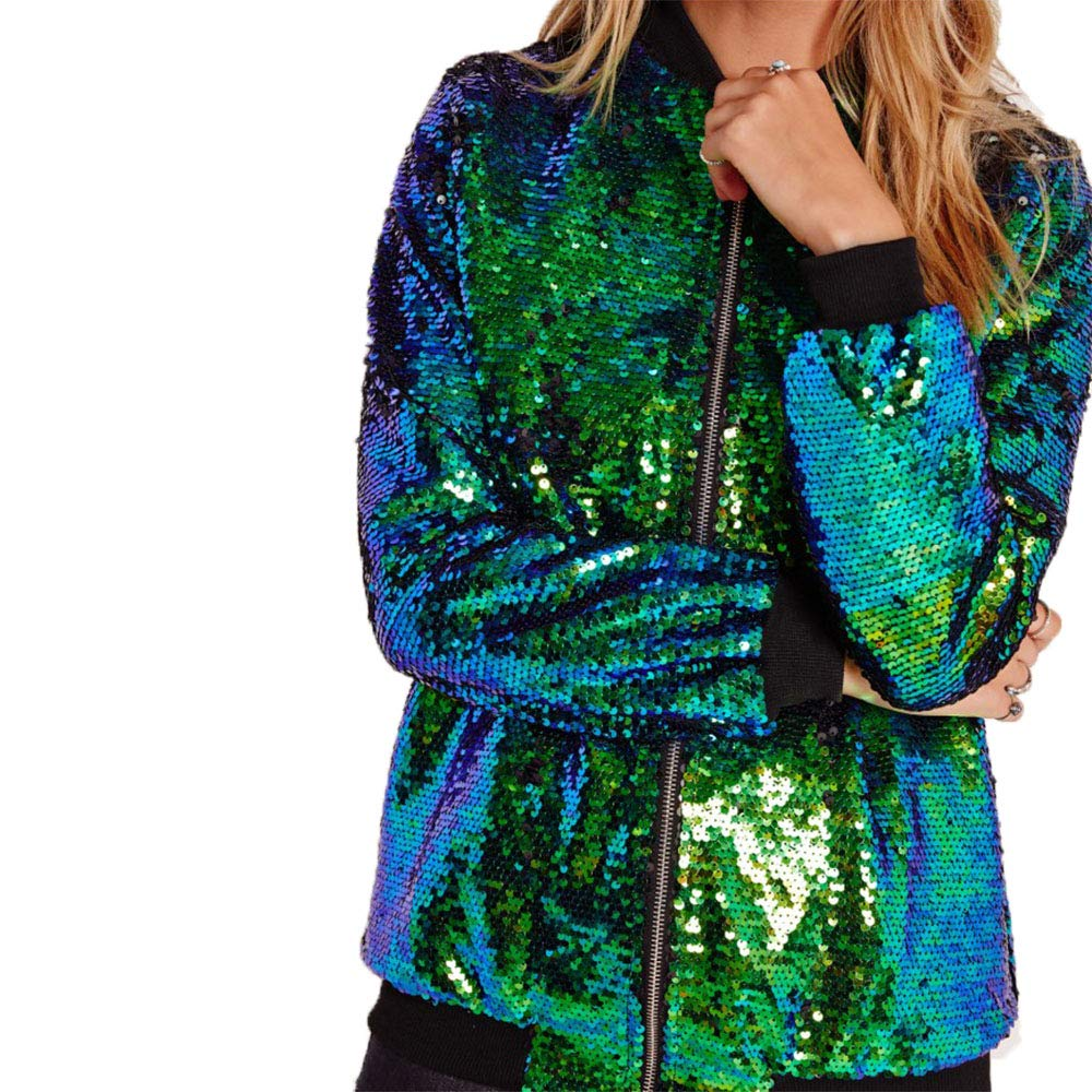Green Jacket ONIEZZFOIR Rainbow Sparkly Sequin Loose Cover Up Long Sleeve Open Front Cardigan Coat Dress for Women's Clubwear(FBA)