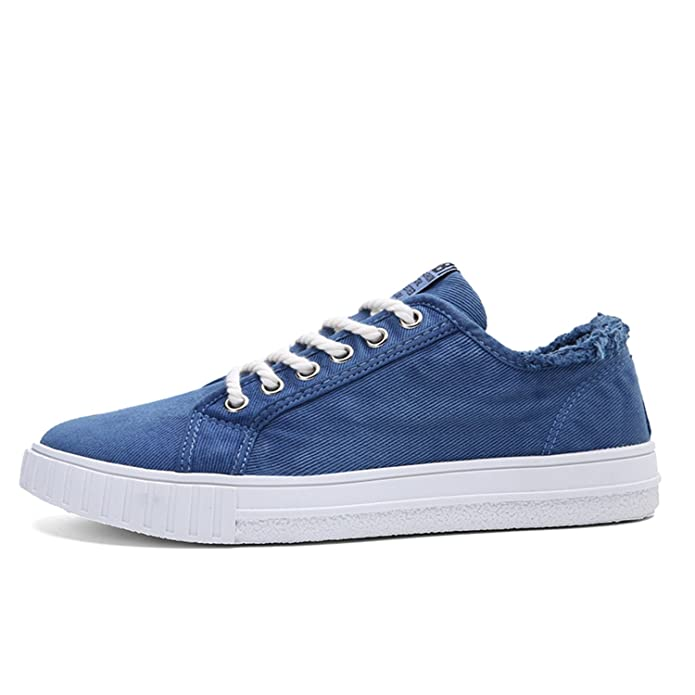 Amazon.com | Lace up Canvas Shoes Men Alpargatas Canvas Trainers Men Denim Shoes Casual Blue Flats | Fashion Sneakers