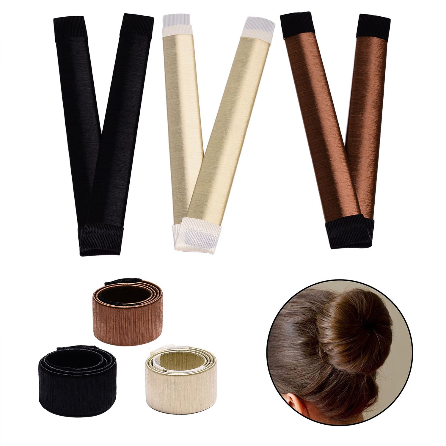 Hair bun maker-3 Pack Hair bun dount+10 Piece Professional Multicolor Plastic Hair Clips+Hair rope, Hair Styling Making DIY Curler Roller Hairstyle Tools by haomiao (Image #3)