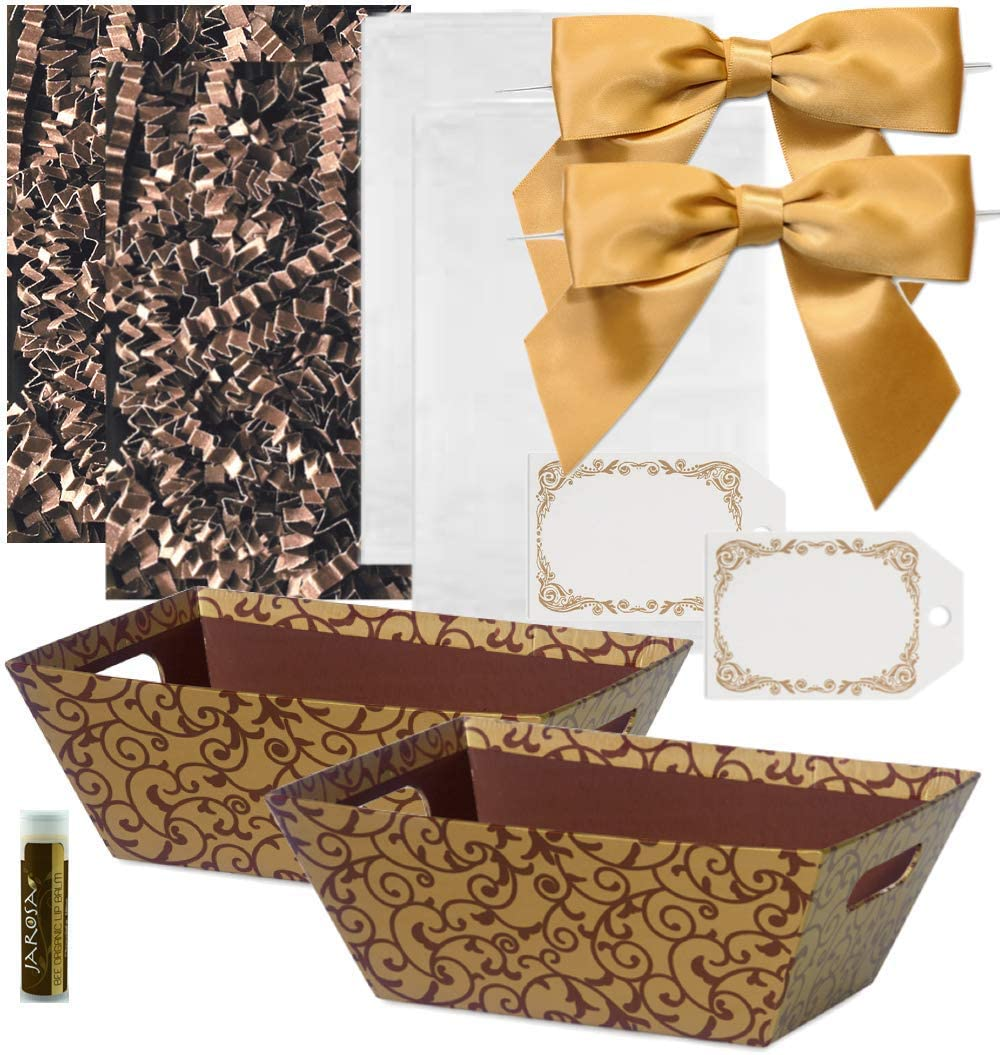 Pursito, Chocolate, Basket Making Kit, Includes, Baskets, Crinkle Paper, Cellophane Bags, Bows, Tags, 2 Sets, Small Basket Kit