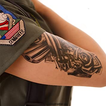 Guns Roses Dólar Tattoo en negro - Fake temporäres una vez Cuerpo adhesivo a1218, negro, 1 x Guns Roses Tattoo: Amazon.es: Hogar
