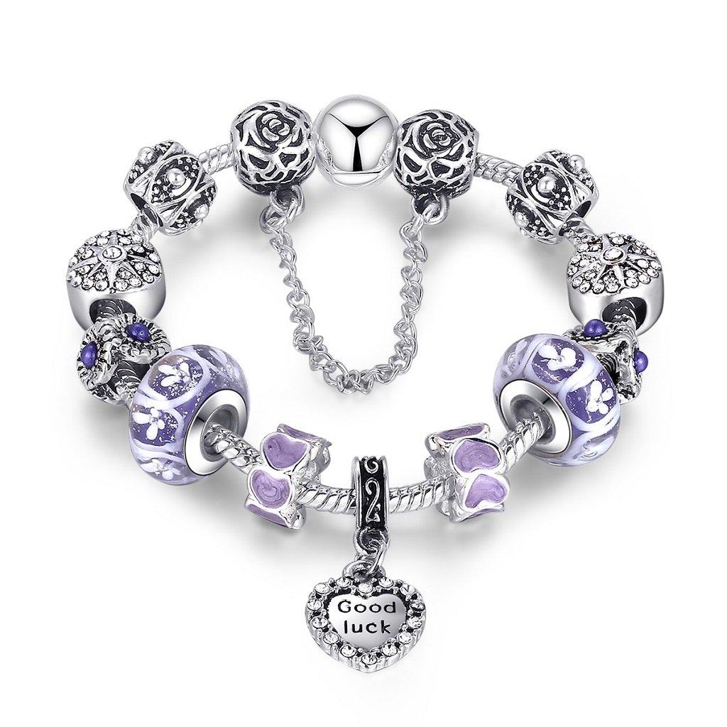 Shysnow Charm Bracelet Flower Rose Charm Bracelet Amor Bleu Charm Bracelet Chanceux Violet, 18cm ou 20cm, 6 Choix Plaqué Argent Cadeau pour Fille par Shysnmow APA1505