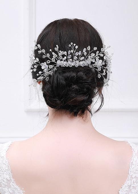 kercisbeauty Super Lujo Joya de la boda decorativa Peines de novia peine de  pelo diadema boda ad8b0679b0bd