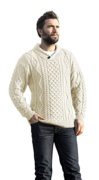 5cbc31a3ac Mens Wool Shawl Irish Collar Sweater: Amazon.ca: Clothing & Accessories