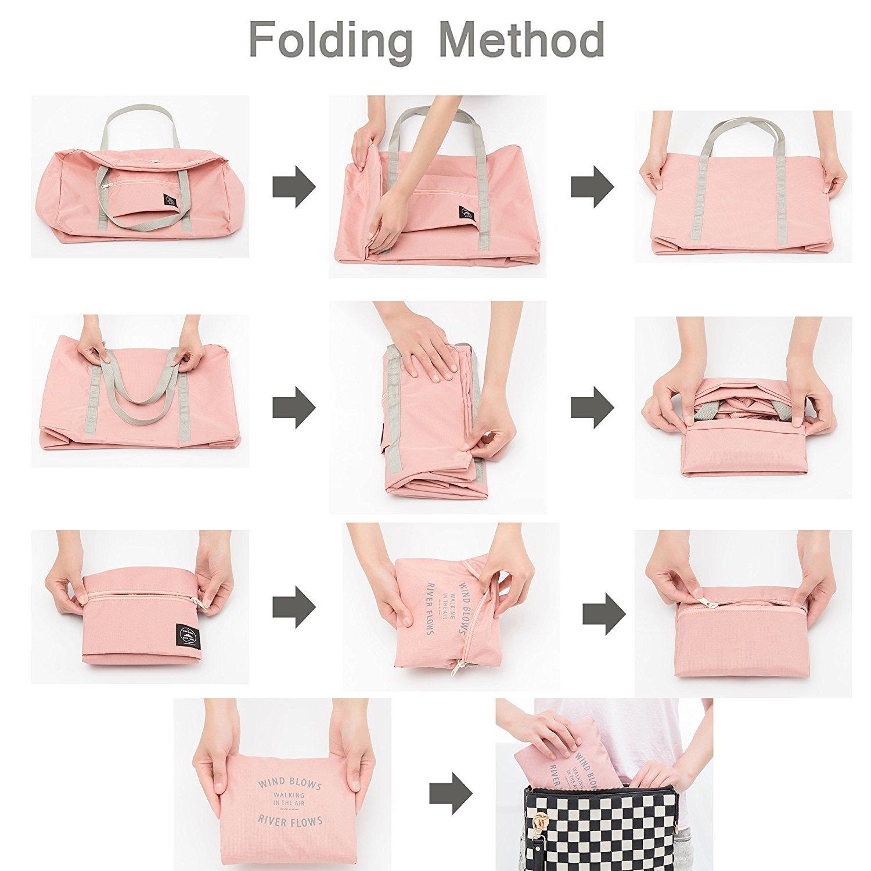 Travel Lightweight Waterproof Foldable Storage Tote Bag Trip Carry Luggage Handbag Pink