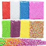 GeMoor 8 Pack Mini Styrofoam Balls for Slime, Small Tiny Foam Beads for Making Floam School Arts Crafts Supplies, 0.1-0.18 Inch, 40000 pcs