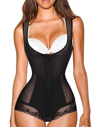4f90241b1c2e8 Nebility Women Waist Trainer Bodysuit Double Slim Full Body Shapewear  Breathable Open Bust Corset (S