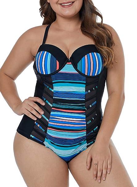Amazon.com: Lalagen - Bañador de monkini para mujer, talla ...
