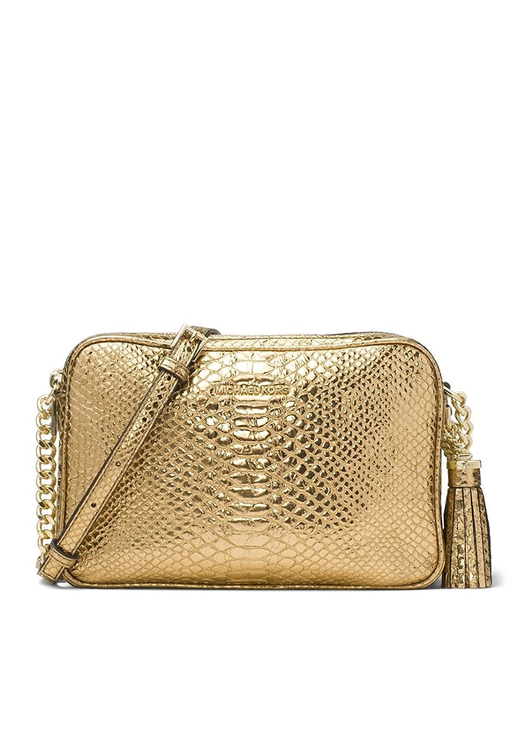3dd0d051cc43 Michael Kors Ginny Large Embossed Leather Crossbody Camera Bag - Gold:  Handbags: Amazon.com