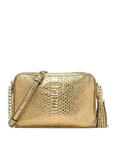 9fda193cbfca Michael Kors Ginny Large Embossed Leather Crossbody Camera Bag - Gold   Handbags  Amazon.com