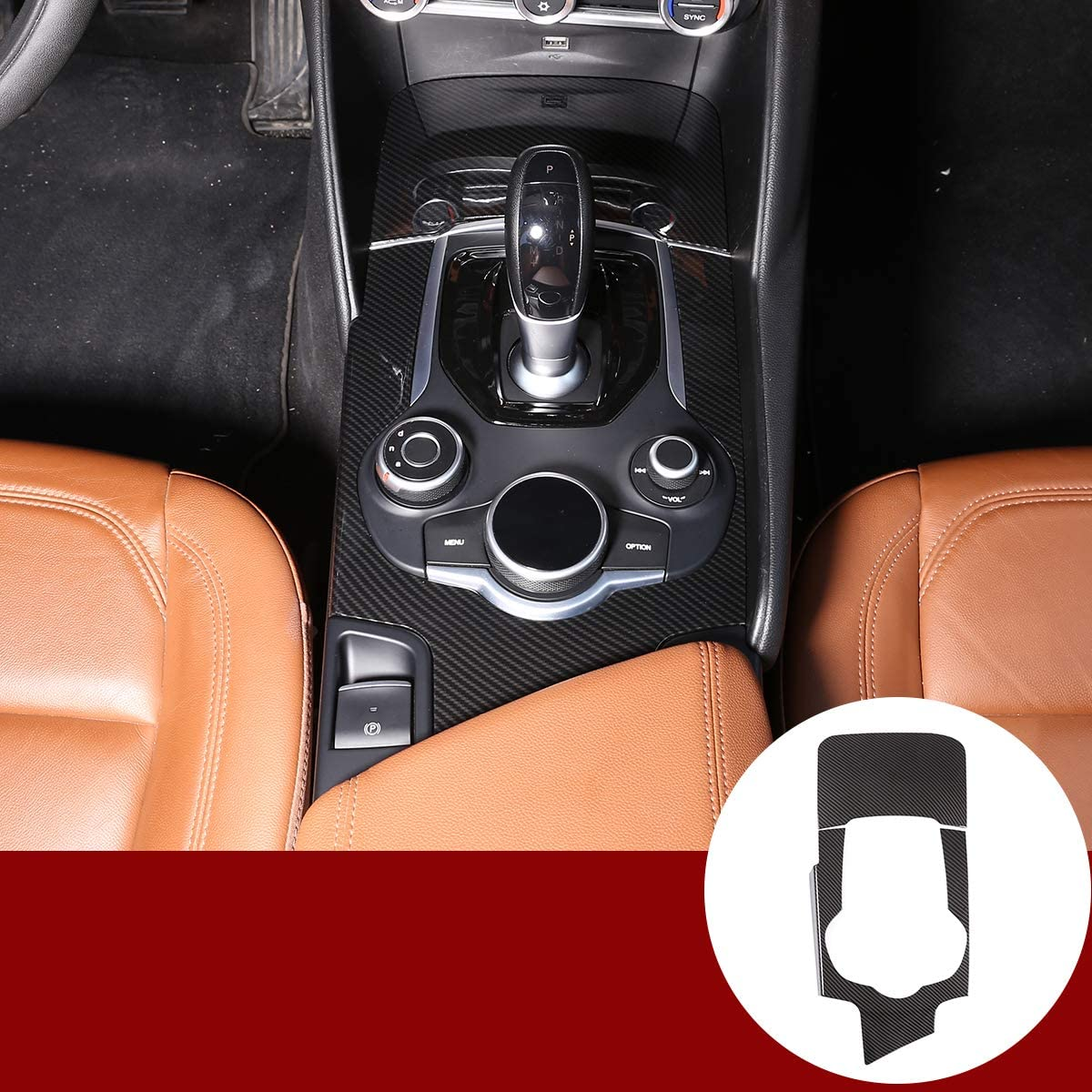YIWANG Carbon Fiber ABS Center Console Gear Shift Panel Trim 2pcs For Alfa Romeo Giulia 2017-2019 Left Hand Driver Accessories