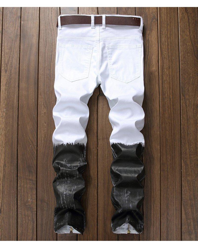 Yonglan Hombre Pintar Pantalones Cremallera Mezclilla Slim ...
