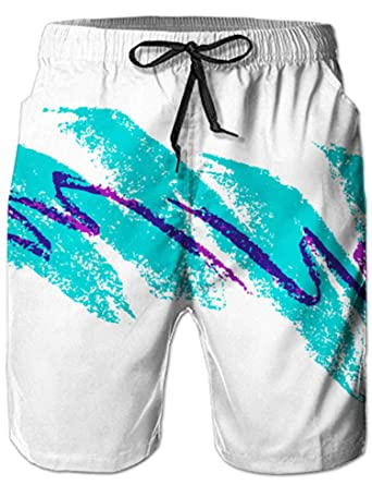 79bed88760 UNIFACO Men Paper Cup Swim Trunks Classic Jazz 90s Style Surf Beach Board  Shorts S