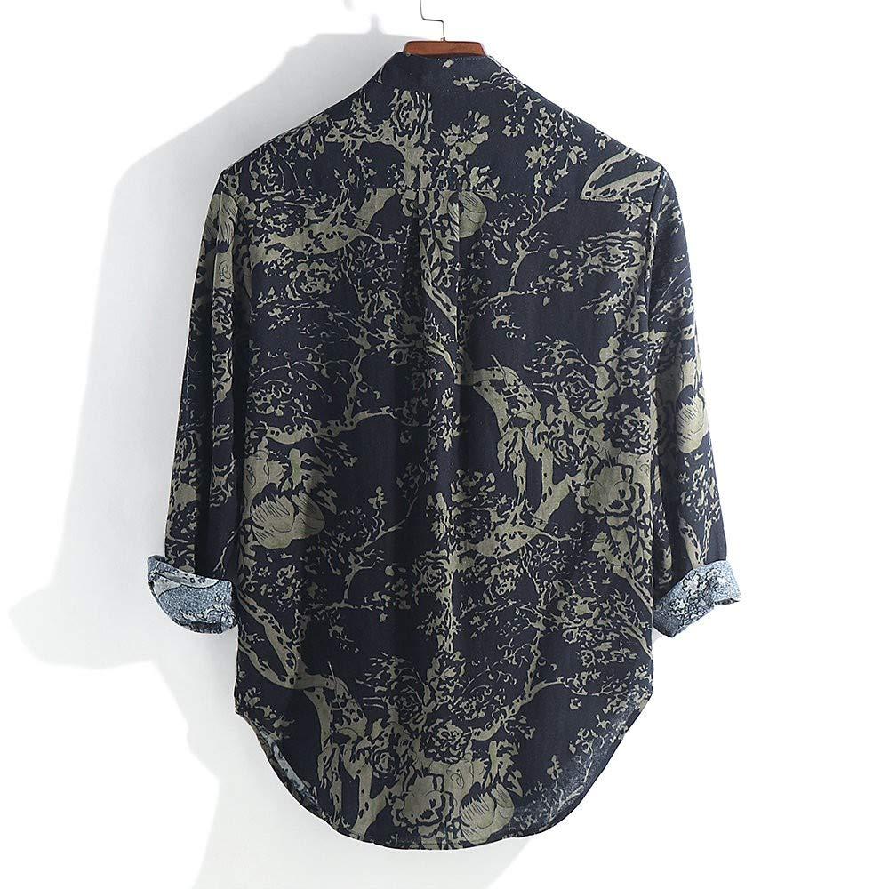 ღLILICATღ Para Hombre De Impresi/ón Bot/ón Blusa con Cuello En V Casual Suelto Algod/ón Lino Camiseta De Manga Larga Tops Hawaianos