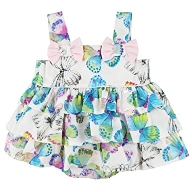 06a7c0605 Abella Baby Girls Romper Dress In Blue Butterfly Print With Tiered ...