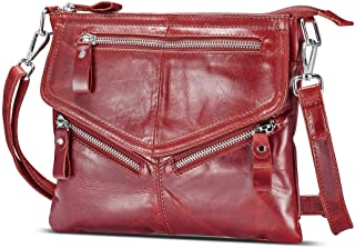 Lecxci Women's Small Soft Leather Travel Purses, Zipper Cross body Bags Shoulder Purses for Women