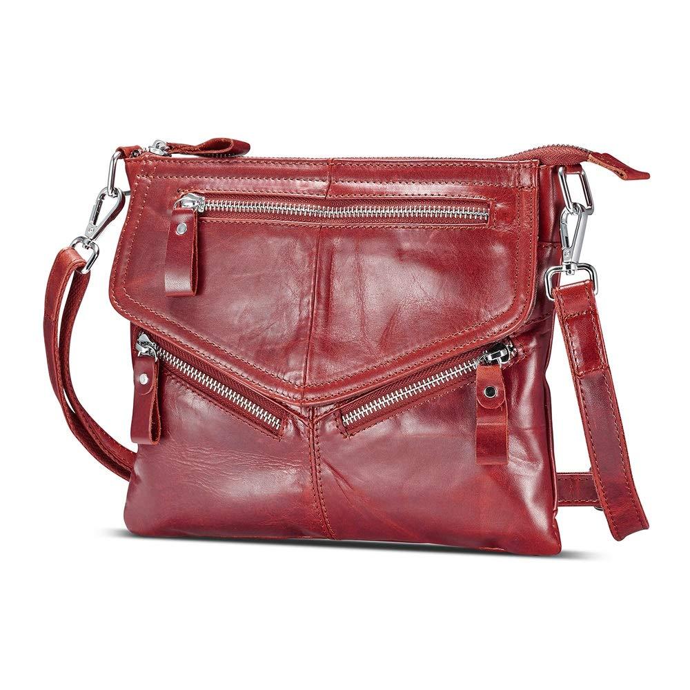 Lecxci Women's Small Soft Leather Travel Purses, Zipper Cross body Bags Shoulder Purses for Women