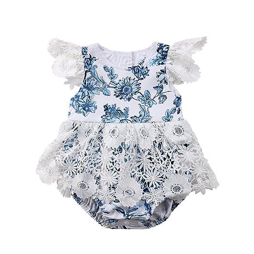 81bb96c0de2b Newborn Infant Baby Girls Romper Lace Floral Jumpsuit Outfits Sunsuit  One-Pieces (0-