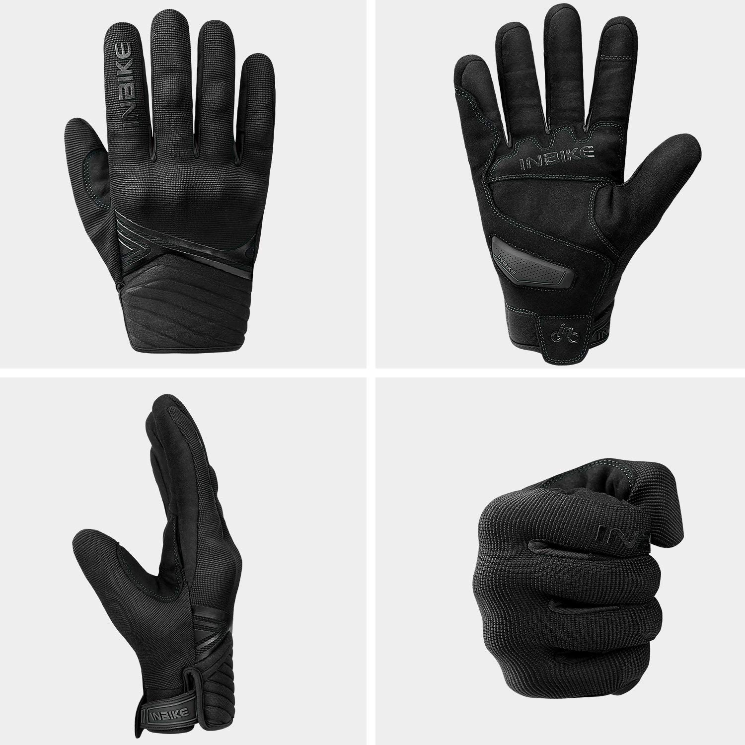 INBIKE Waterproof Winter Motorcycle Gloves Thermal Fleece Touchscreen with TPR Palm Pad Cushioning Hard Knuckle White XX-Large