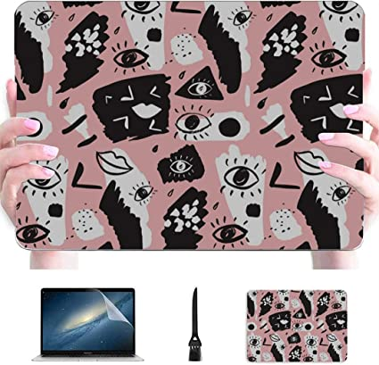 A1932, 2019 2018 Release Compatible with MacBook Air 13 inch Hard Plastic Shell Cover Case Cute Cartoon Pattern with Doodle Cats and Dogs