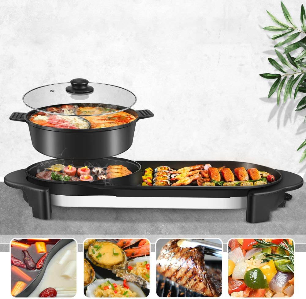 ETE ETMATE Portable Electric Grill, Removable Electric Indoor Grill Hot Pot, Electric Barbecue Grill Indoor Hot Pot Chafing Dish, Large Capacity Household Multifunctional Non-Stick Pan Electric Cooker with 5 Temperature Adjustments