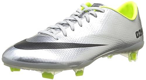 a6e911af3bd Nike Mens Mercurial Vapor IX FG Soccer Cleat- Metallic Silver Black -Volt (