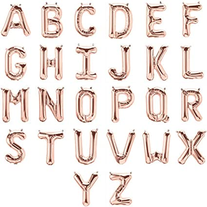 """ROSE GOLD Silver 16/"""" Alphabet Letter Number A-Z Foil Balloons NAME PARTY WEDDING"""