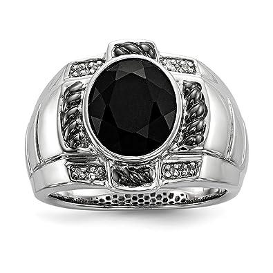 305db20dfec60 925 Sterling Silver Diamond Black Onyx Oval Mens Band Ring Size 11.00 Man  Fine Jewelry Gift