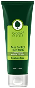 Organic Harvest Acne Control Face Wash For Oily and Acne Prone Skin, ECOCERT & PeTA Certified, Paraben & Sulphate Free - 50ml
