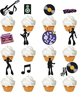 Disco Dance Cupcake Topper, 70's Disco/Any Birthday Party Sign, Saturday Night Disco Christmas Cake/dessert/Food Fruit Picks Supplies for Kid ,Adults (13 styles)