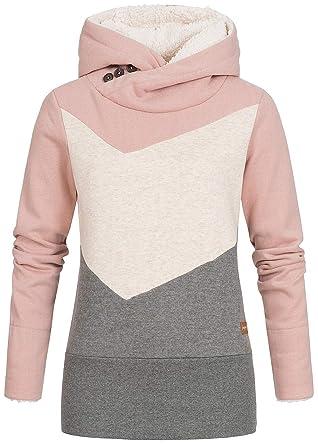 2fbd42902d Seventyseven Lifestyle Damen Colorblock Hoodie Kapuze breiter Bund rosa  Weiss grau, Gr:L