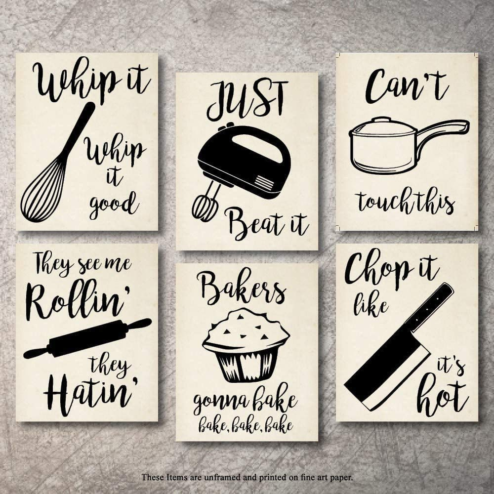 Amazon Com Home Decor Funny Gift 6 Kitchen Wall Art Prints Kitchenware With Sayings Unframed Farmhouse Home Office Organization Signs Bar Accessories Decorations Sets White House Deco Kitchen Decor 8 X10 Everything Else