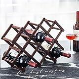 Wood Wine Rack Storage Wine Holder Foldable Free Standing 10-Bottle Wooden Wine Stand Rustic Organizer - Burgundy Wood…