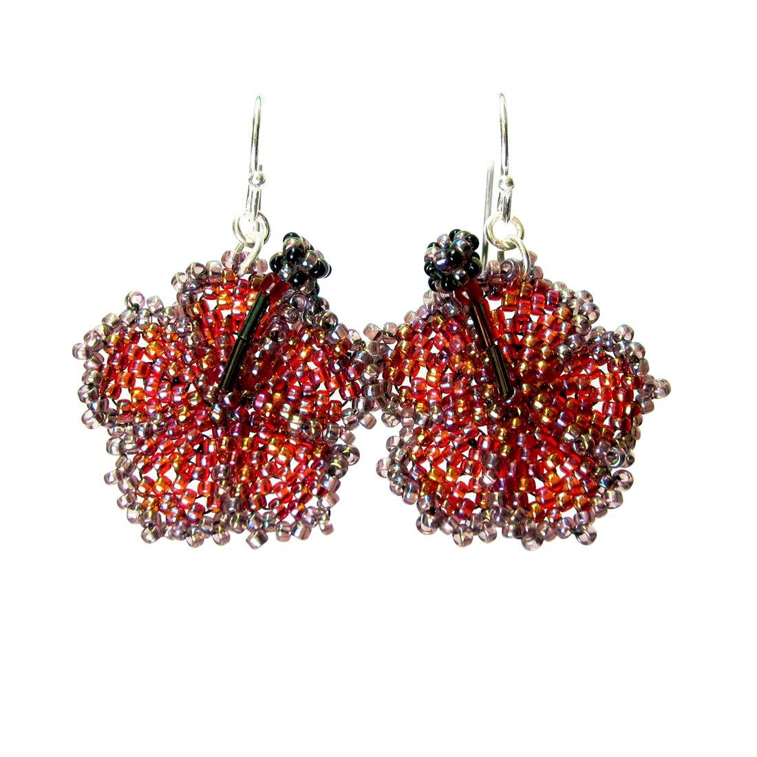 Canyon Sunset Heart in Hawaii Beaded Hibiscus Earrings