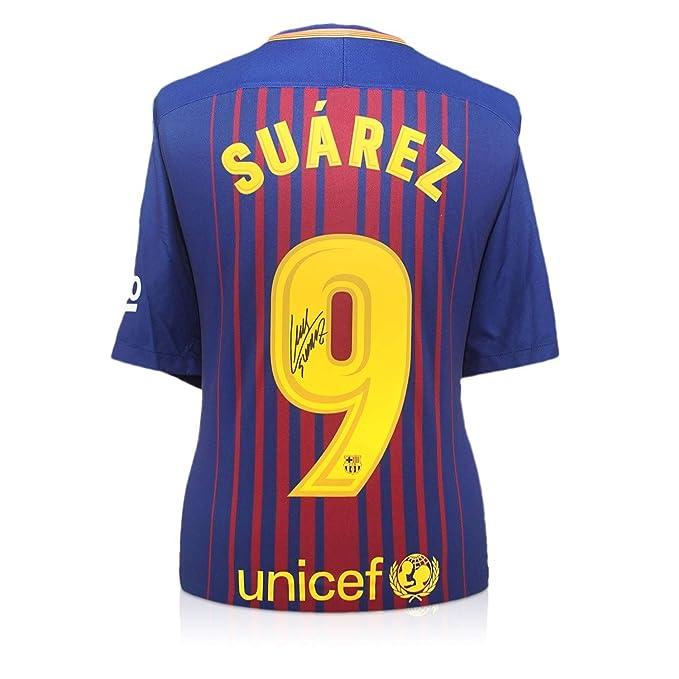 exclusivememorabilia.com Camiseta de fútbol Barcelona 2017-18 firmada por Luis Suárez: Amazon.es: Deportes y aire libre