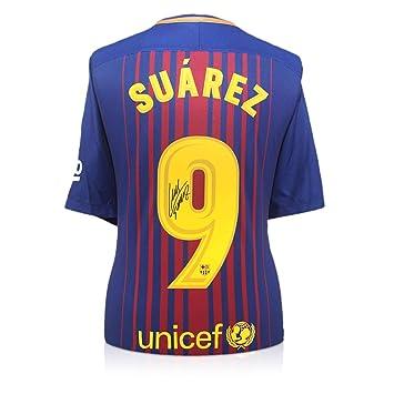 exclusivememorabilia.com Camiseta de fútbol Barcelona 2017-18 firmada por Luis Suárez