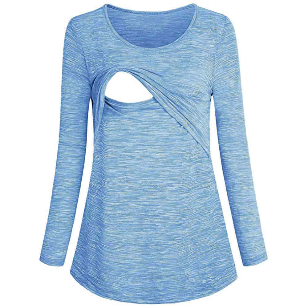 Beikoard Herbst und Winter Umstandskleidung Frauen Stillen Kleidung Bluse Schwangere Pullover mit Rundhalsausschnitt