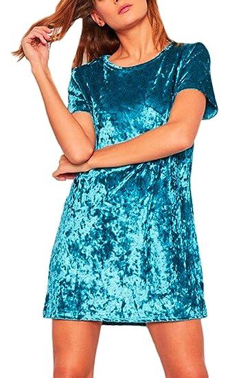 Verano De Mujer Manga Corta Suelta Tnica De Terciopelo Vestido De Fiesta, Azul, EU